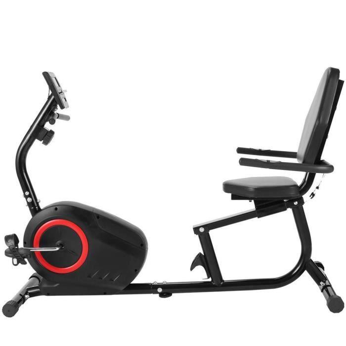 Vélo d'appartement semi-allongé-Vélo Couché Dossier Magnétique-8 Niveaux de résistance support de Tablette/Capteurs de Pouls-Noir