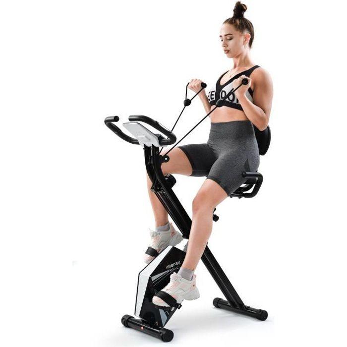 Merax Vélo d'Appartement Pliable et réglable 120kg avec LCD, 8 niveaux de résistance, noir