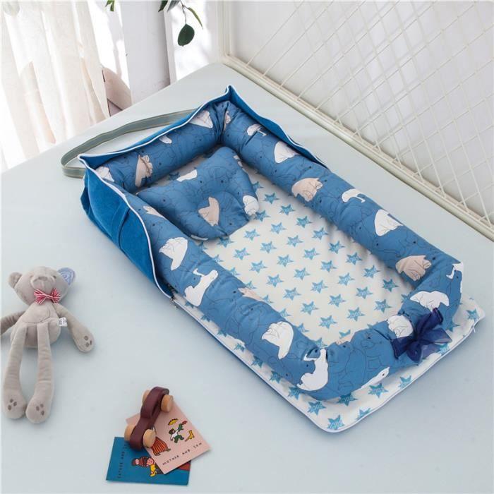 Lit Bébé Portable en Coton Reducteur de lit Pliable Nid pour nouveau-né nourrisson de voyage Lavable Berceau 0-2 Ans, Ours polaire