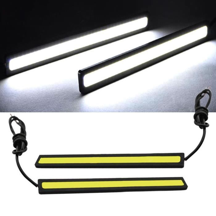 2x lumières LED COB de voiture blanche super brillante -DRL antibrouillard lampe de conduite étanche DC 12V m71