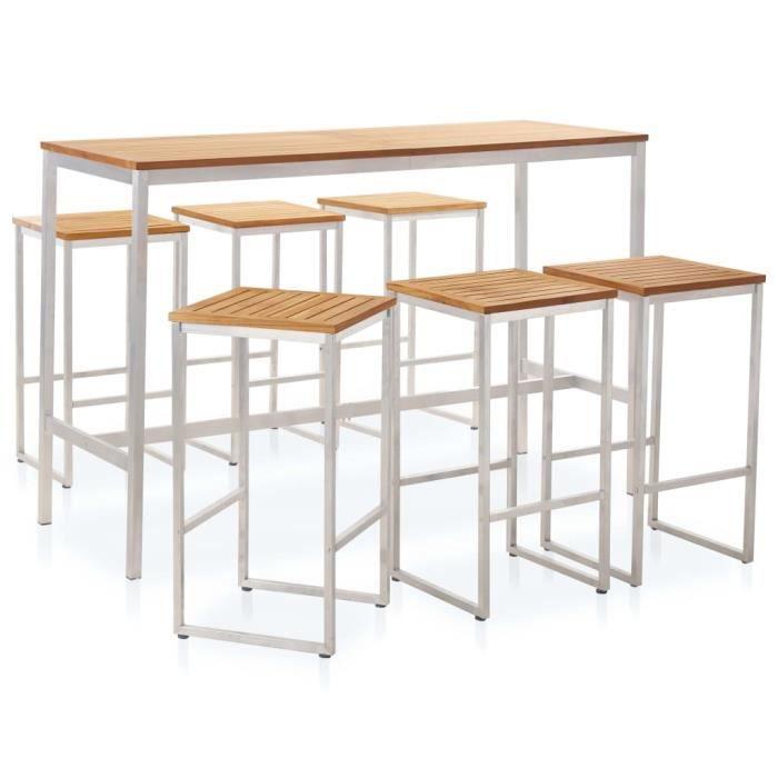 7 pcs Ensemble de bar - 1 Table Haute+ 6 tabourets de bar cuisine contemporain Mange-Debout - Bois de teck solide et acier