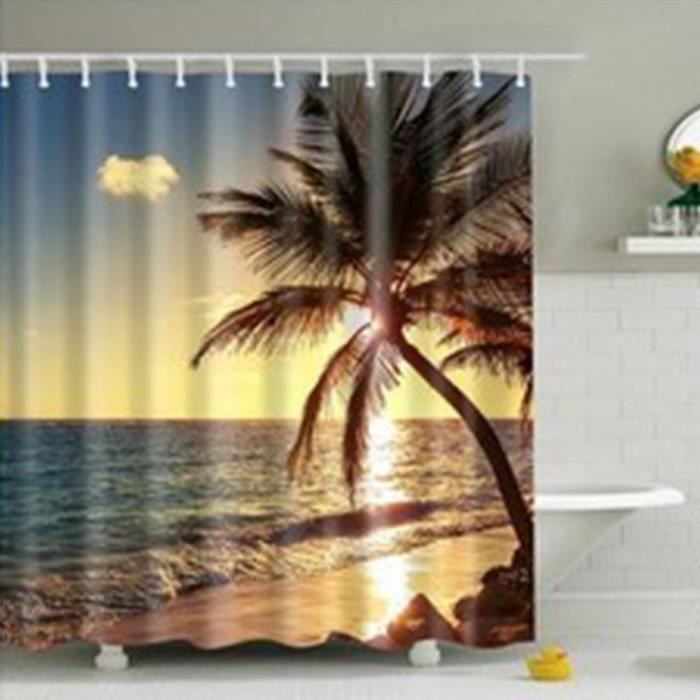 PRI Rideau de douche tissu imperméable Anti moisissure décoration universelle de salle de bain arbre plage Nature paysage carré