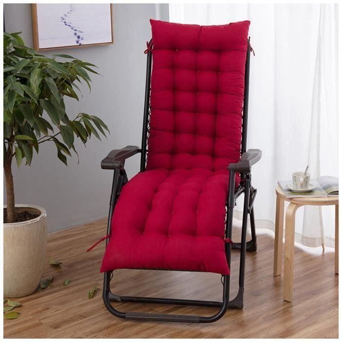 Coussin Bain de Soleil Jardin Pliable Anti-Dérapant Coussin Chaise Longue Epais Confort,48x170cm,Vin rouge
