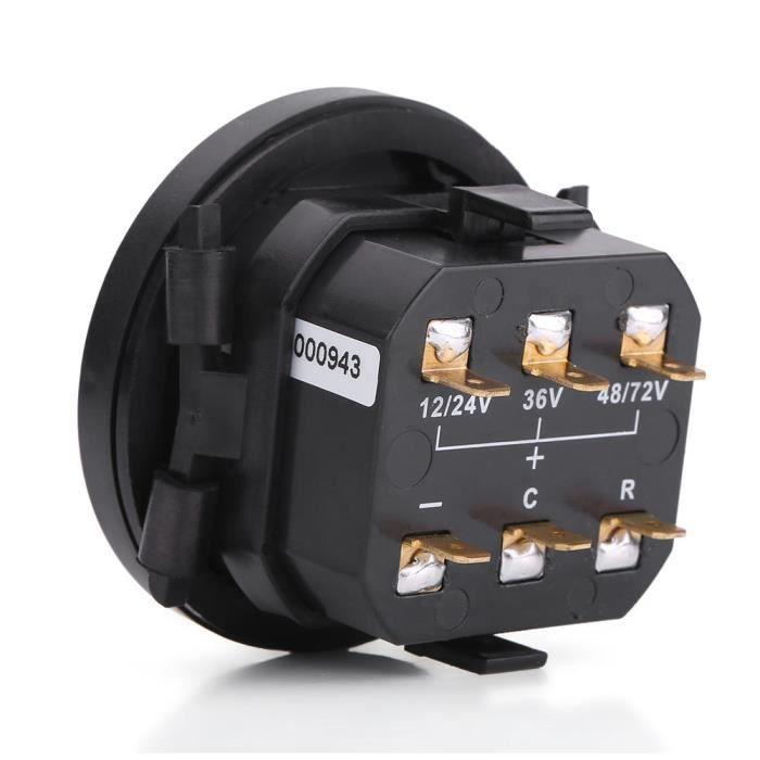 Cuque Compteur de batterie Indicateur de batterie numérique LED 12V / 24V / 36V / 48V / 72V avec compteur horaire pour voiturette