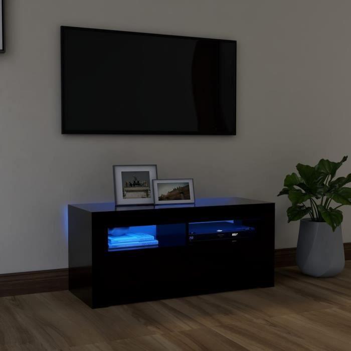 WONG Meuble TV avec lumières LED Avec design à la fois tendance et pratique Noir 90x35x40 cm