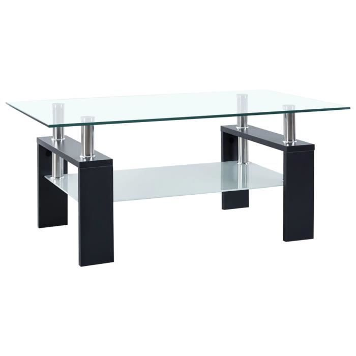 FAS Table basse Noir 95x55x40 cm Verre trempé