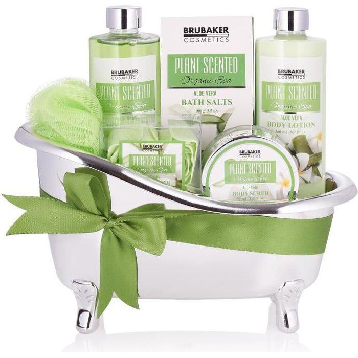 BRUBAKER Cosmetics Coffret de bain & douche - 7 pcs. - dans une baignoire décorative - Idée cadeau - Aloe Vera