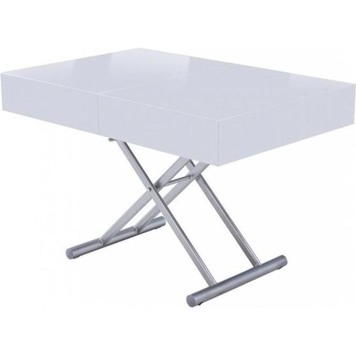 Table basse relevable extensible HARIE laquée blanc blanc MDF Inside75