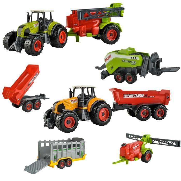 FARM Coffret jeu 6 engins agricoles jouets enfants tracteurs remorques