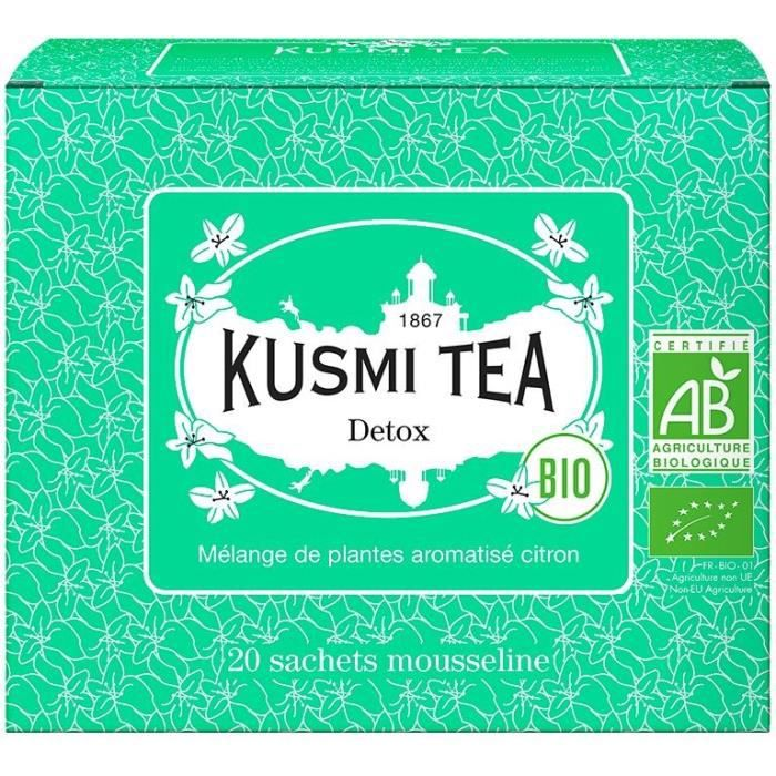 KUSMI TEA Thé Detox - Bio - Etui 20 sachets mousseline - 40 g
