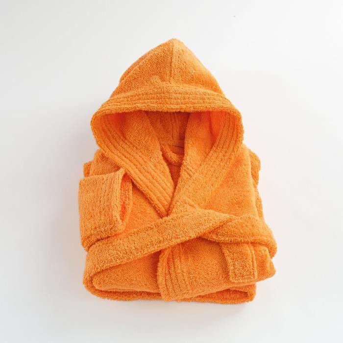 LINANDELLE - Peignoir enfant capuche en coton bouclette éponge COCOON - Orange - 10 ans