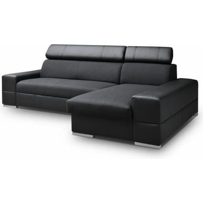 Canapé d'angle 4 places CAPRI noir convertible simili cuir