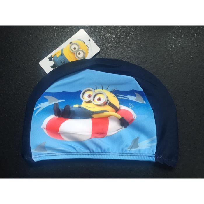 Bonnet de bain / piscine enfant MINIONS bleu pour natation