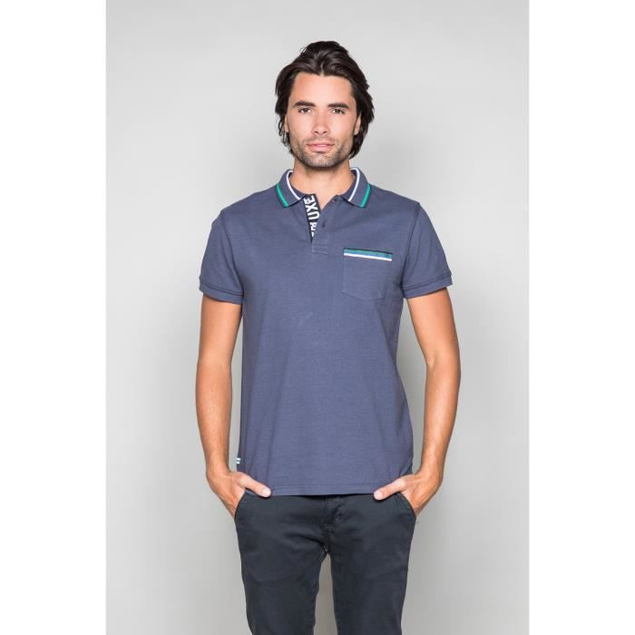 Polo chiné avec ruban DITMAS - Couleur - Navy, Taille - M