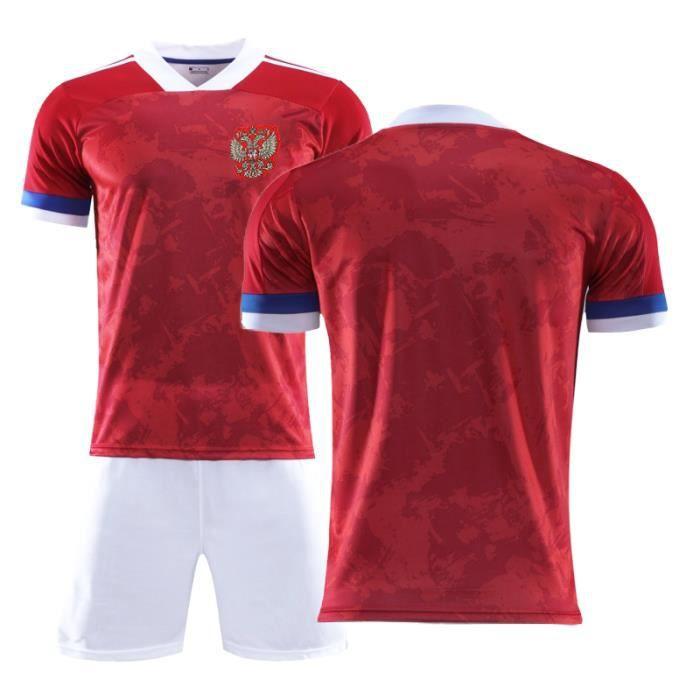 Nouveau Maillot Russie Euro 2020 Maillot de Foot Russia Football Soccer(Tops + Shorts)Kit Pas Cher pour Homme Enfant Garçon