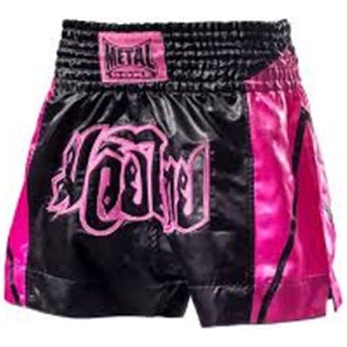Shorts thai Metal Boxe Fushia noir et fushia