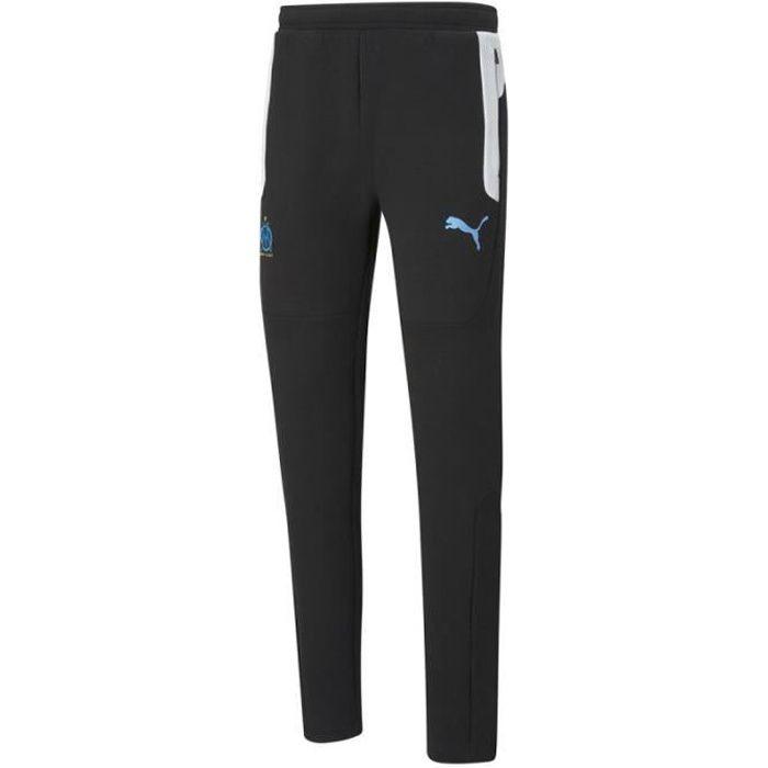 Pantalon de survêtement Puma OLYMPIQUE DE MARSEILLE EVOSTRIPE - Réf. 758643-02. Couleur : Noir, Blanc. Détails. - Taille élastique