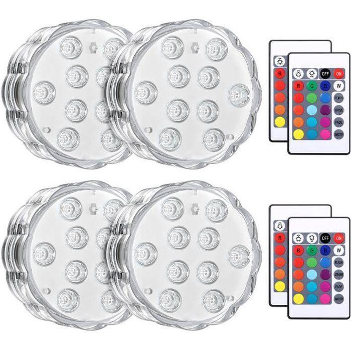 Lumière Submersible de LED, 4PCS Éclairage Lampes Sous-Marines Multi-couleur avec Télécommande, Lumières de Baignoire Étanche