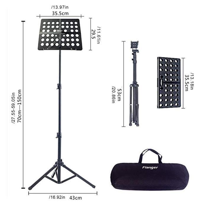 Pupitre téléscopique Support de partition de musique Pliable réglable de 27,6 à 57,1 pouces