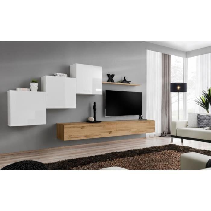 Ensemble meuble salon mural SWITCH X design, coloris chêne Wotan et blanc brillant. 40 Marron