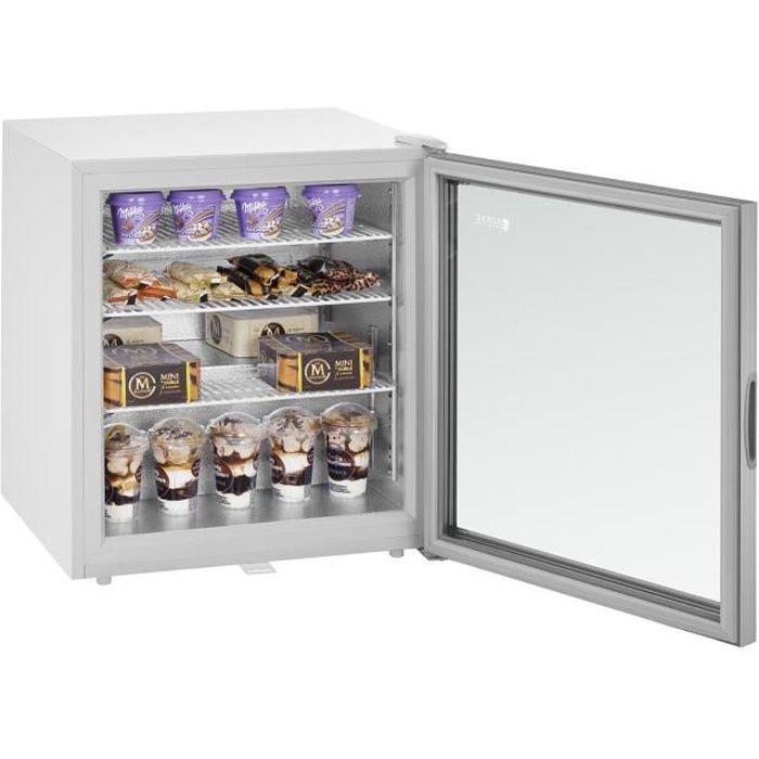 Royal Catering Mini Congélateur Coffre Bahut Freezer Professionnel RCFZ-W88L 88 L Porte en verre isolante Éclairage LED
