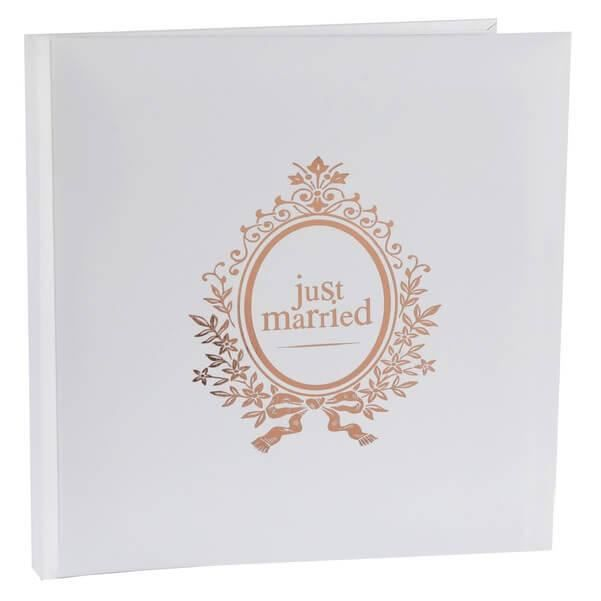 Livre d'or mariage Just Married blanc et rose gold métallique (x1) REF/6907