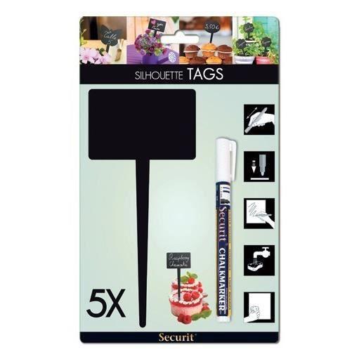 TAG Ardoise silhouette Rectangle x 5 unités + 1 feutre craie liquide