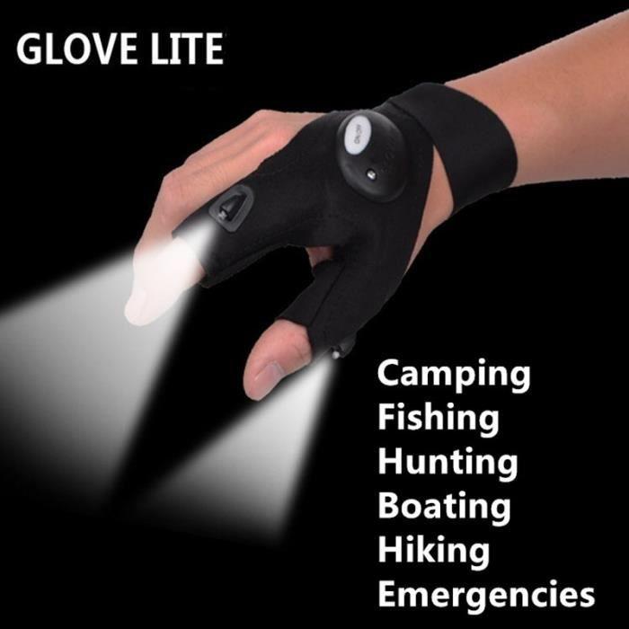 Glovelite Gants lumineux LED Gants de pêche légers Camping Gants d'équitation Gants légers Plein air Gants