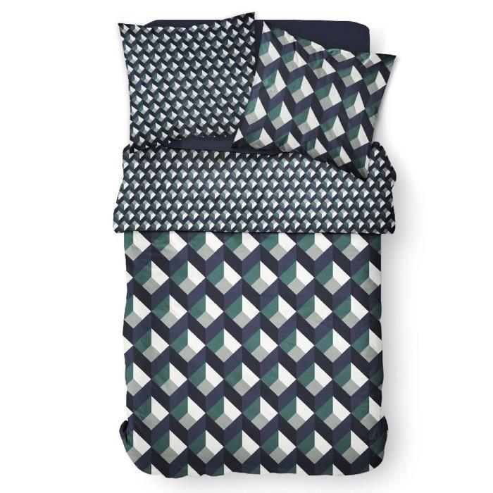 Parure de lit housse de couette Réversible avec taies d'oreiller 100% Coton 57 fils 6.3 - taille:220 x 240 cm