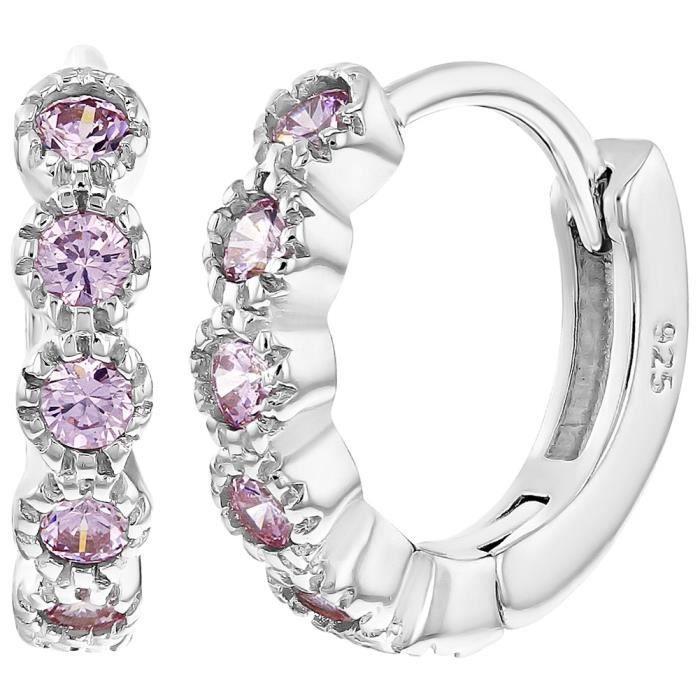 Argent 925//1000 Fer /à Cheval Boucles d/'oreilles In Season Jewelry Petit Tiges poussettes s/écurit/é /à vis Enfants Rose Zircone Cubique