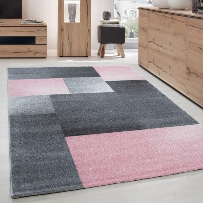 Tapis de salon moderne design courte pile - Optique bloc - Gris et rose -  200 x 290 cm