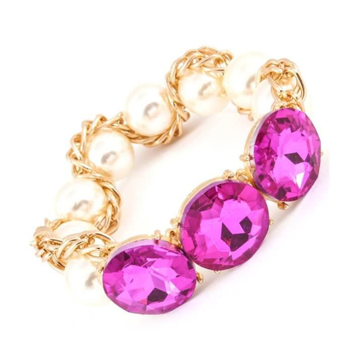 Womens Crystal Stretch Bracelet C54 Fuchsia Hot Pink Faux Pearl Gold Tone Big HLZCQ