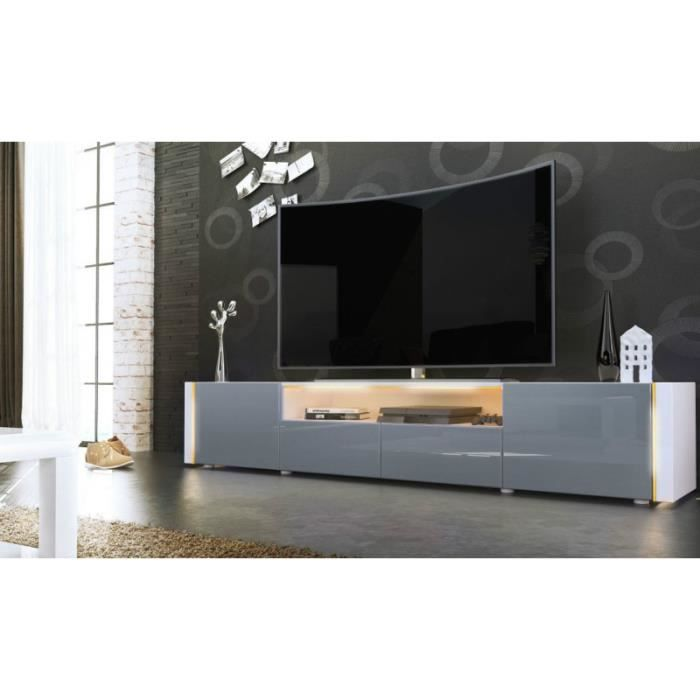 meuble tv bas blanc gris 205 cm achat vente meuble tv meuble tv bas blanc gris 205. Black Bedroom Furniture Sets. Home Design Ideas
