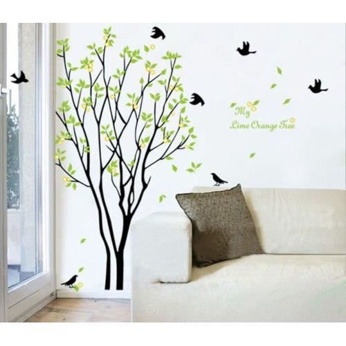 sticker mural arbre noir et feuilles vertes achat vente stickers cdiscount. Black Bedroom Furniture Sets. Home Design Ideas