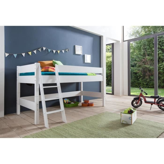 lit mi hauteur pour enfant coloris blanc achat vente. Black Bedroom Furniture Sets. Home Design Ideas