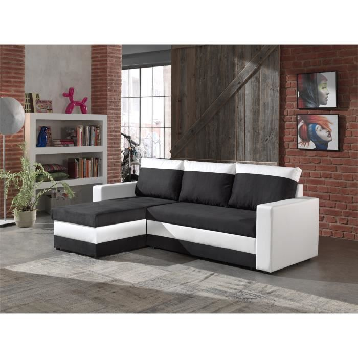 portland canap d 39 angle convertible r versible noir. Black Bedroom Furniture Sets. Home Design Ideas