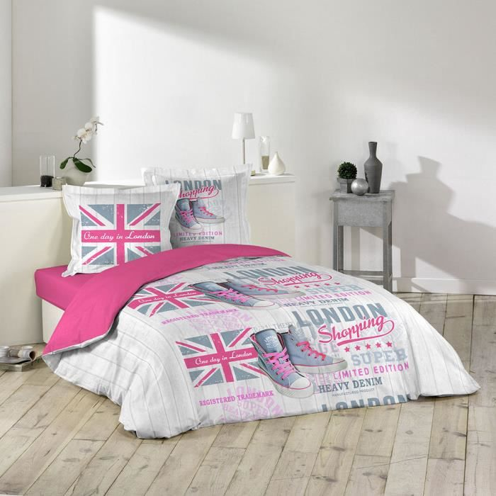 couette imprime london achat vente couette imprime. Black Bedroom Furniture Sets. Home Design Ideas