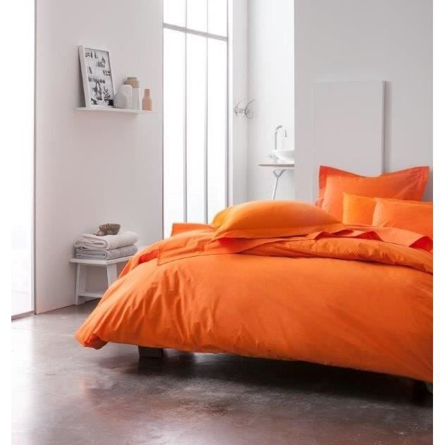 today housse de couette 100 coton 140x200cm mandarine achat vente housse de couette cdiscount. Black Bedroom Furniture Sets. Home Design Ideas