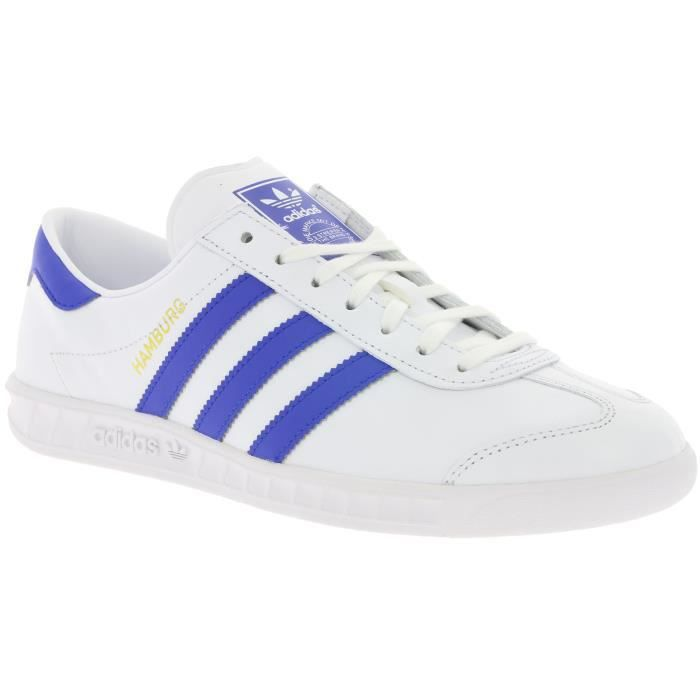 Chaussures Baskets adidas homme Hamburg taille Blanc Blanche Cuir Lacets Tb5Gmb