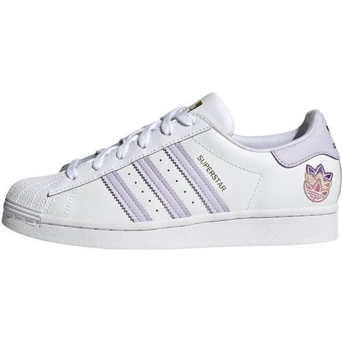 Baskets Adidas Superstar blanc / violet femme