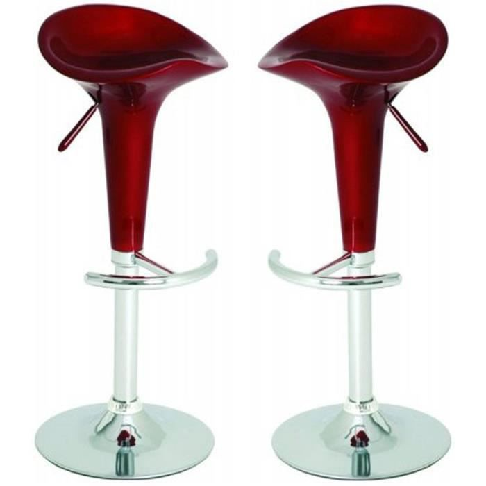 lot de 2 tabourets de bar en acier chrom color achat vente tabouret de bar acier chrom. Black Bedroom Furniture Sets. Home Design Ideas