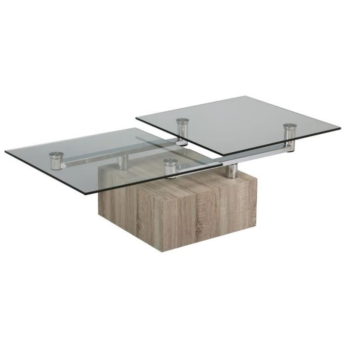 Table basse verre socle bois carr x l achat vente table bass - Table basse carre bois ...