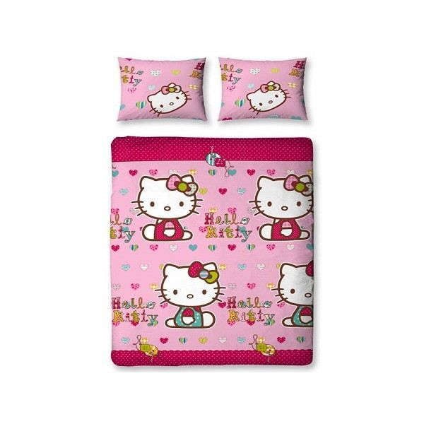 housse de couette hello kitty folk 2 places achat vente parure de couette cdiscount. Black Bedroom Furniture Sets. Home Design Ideas