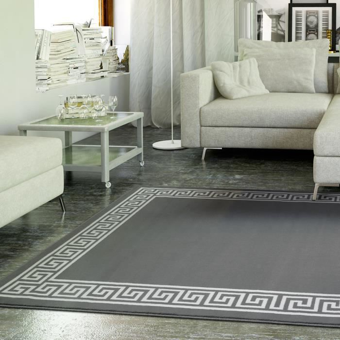tapis salon motif grec gris universol achat vente tapis cdiscount. Black Bedroom Furniture Sets. Home Design Ideas