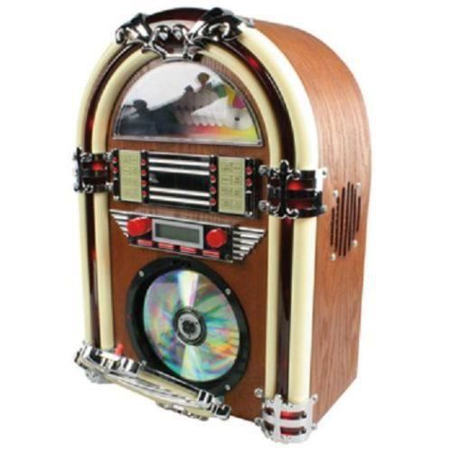 jukebox retro avec neon radio am fm et lecteur cd radio cd cassette avis et prix pas cher. Black Bedroom Furniture Sets. Home Design Ideas