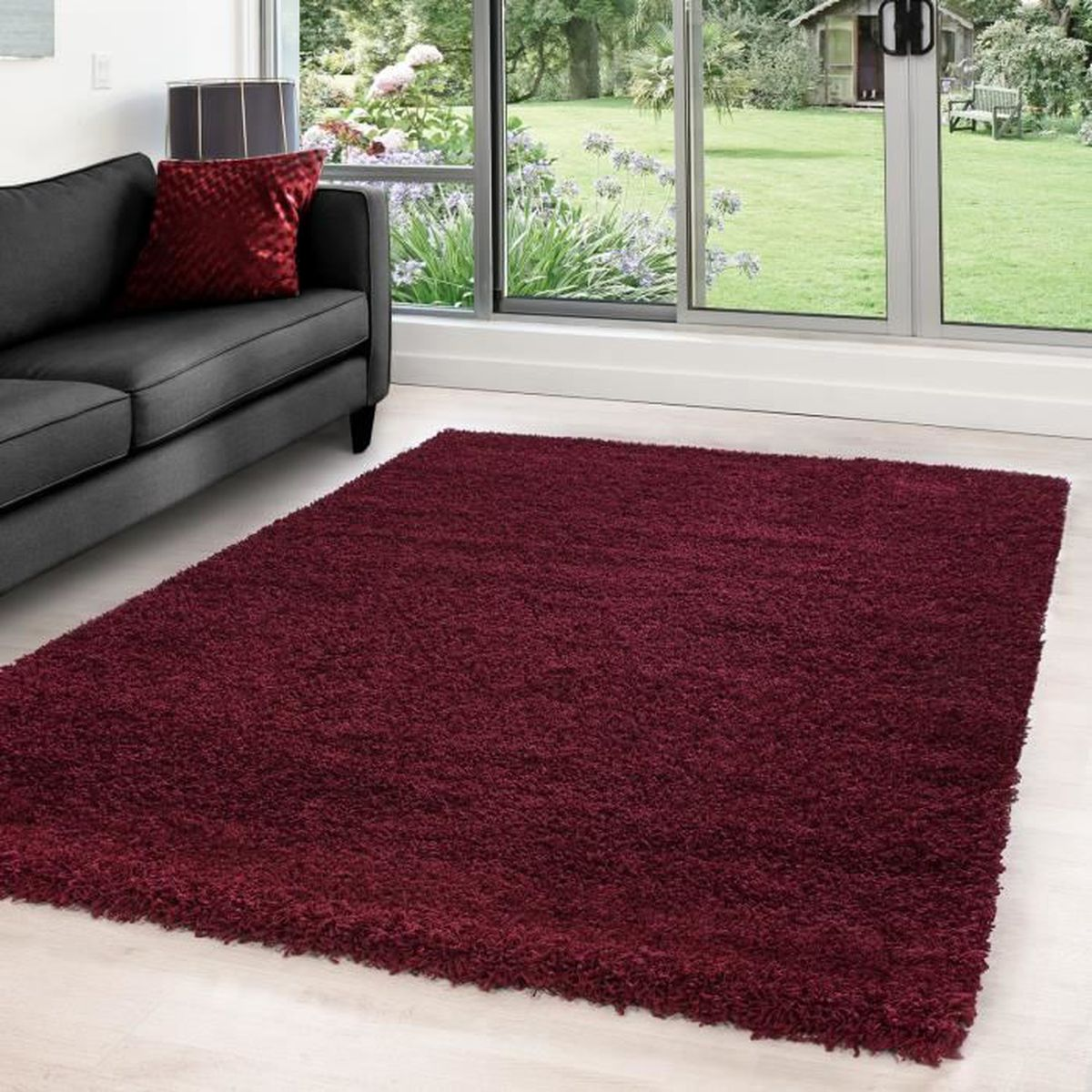 hirsute tapis moquette du salon shaggy avec une hauteur de 5 cm pile monochrome 4444 rouge. Black Bedroom Furniture Sets. Home Design Ideas
