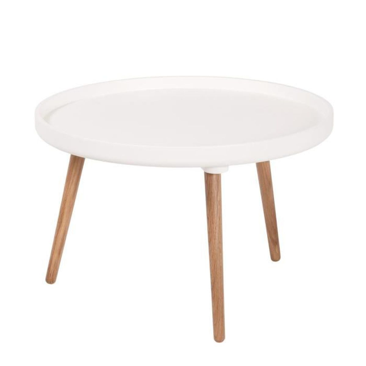 Table basse ronde 55 x h35cm kompass couleur blanc for Table basse ronde blanc