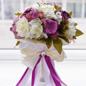 FLEUR ARTIFICIELLE ROSE 24cm bouquet de fleur boule de rose artificie