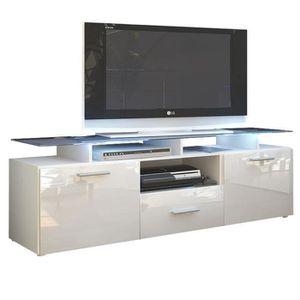 MEUBLE TV Meuble tv blanc mat façade laquée avec led 146 cm
