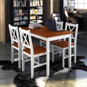 TABLE DE CUISINE  1 ensemble Table en bois + 4 chaises Ensemble de T
